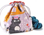 Knitting Crochet Project Bag - Whiskers