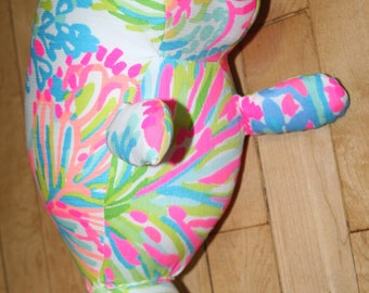 Made to order Manatee plush made with Lilly Pulitzer fabric