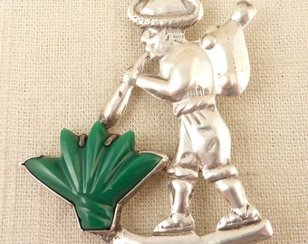 SALE ---- Vintage Mexican Traveling Pipe Player Sterling and Jade Brooch