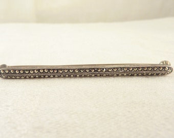Vintage Sterling and Marcasite Deco Bar Pin