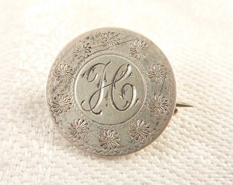 """Antique Victorian Love Token Seated Liberty Dime Brooch Engraved """"H"""""""