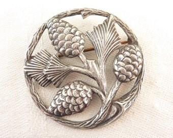 Vintage Large Round Sterling Natural Cutout Pine Cone Brooch