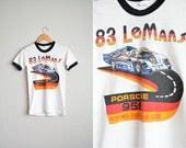 Size XXS/XS // RARE 1983 Le Mans Ringer Tee // 24 Heures du Mans - Endurance Racing - Porsche 956 - Youth S - Vintage '80s.