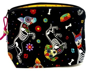 Zippered NOTIONS BAG with zipper pull -  Sugar Skull Puppy