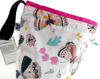 Small Knitting Project Bag Crochet Drawstring Tote WIP Bag -  Floral Butterflies