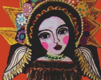 Modern Cross Stitch Kit By Heather Galler 'Mexican Angel'
