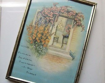 Vintage Framed Print * 1940's Home Decor * Mothers * Gifts * Shabby Chic Decor * Vintage Home Decor * Poems * Roses