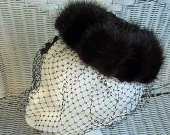 Valerie Mode Mink and Net Mini Hat Vintage 50's