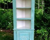 SOLD! SOLD! Petite Painted Corner Hutch with Rose Wreath and Garland, Beach Cottage Chic