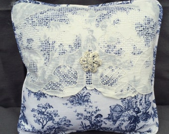 Navy Blue Toile and Vintage Doily Pillow, Handmade