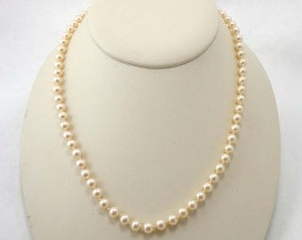 Pearl Necklace Marvella Signed Single Strand Gold Tone Clasp Hand Knotted 699