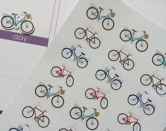 SALE Planner Stickers 24 Bicycles Plum Paper Stickers Life Planner Stickers