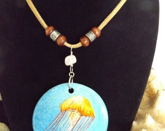 Hand Painted Pendant Necklace, Jellyfish Jewelry, Beach Jewelry, Boho Beach Jewelry, Beachwear, Mermaid Jewelry, Hand Painted Jewelry