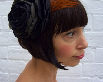 Black recycled vintage silk satin rose flower fascinator headpiece with brown black cockerel feather wing