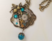 The Bee is Blue In Time for Fall Steampunk necklace