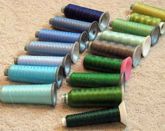 Blues and Greens Assortment of Machine Embroidery Thread Big Cones