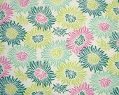 STORE CLOSING SALE - Fat Quarter - End of Bolt, Heather Bailey, Fresh Cut, Graphic Mums Turquoise, Free Spirit, 100% Cotton Quilt Fabric