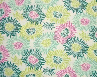 COUPON Sale - Heather Bailey, Fresh Cut, Graphic Mums Turquoise, Free Spirit, 100% Cotton Quilt Fabric, Floral Fabric, SELECT A SIZE