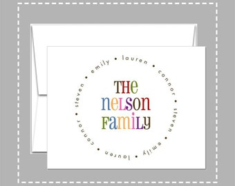 Personalized Stationery -  Multicolored Family Name - Folded Note Cards