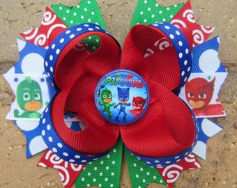 PJ Masks Inspired Custom Boutique Hair Bow for Birthday Party or Anytime Disney Junior