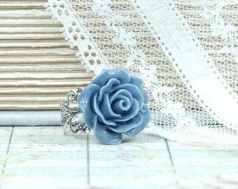Blue Flower Ring Adjustable Ring Rose Cabochon Ring Blue Rose Ring Floral Ring Blue Ring Victorian Ring
