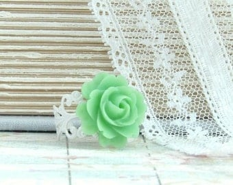Rose Cabochon Ring Green Flower Ring Shabby Chic Ring Green Rose Ring Flower Cabochon Ring Green Floral Ring
