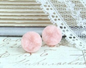 Pink Druzy Earrings Druzy Stud Earrings Faux Druzy Studs Hypoallergenic Light Pink Earrings Pink Druzy Studs