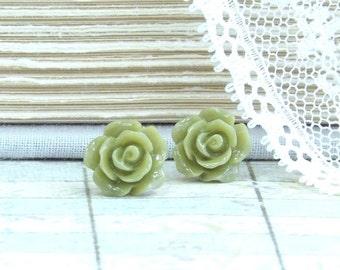 Green Rose Earrings Rose Stud Earrings Olive Green Earrings Green Flower Earrings Hypoallergenic