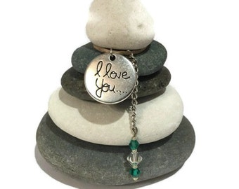 I Love You Rock Cairn, Zen Garden, Wishing Stones, Inspirational Small Gift, Desk Gift, Parent, Loved One, Spouse, Husband, Wife, Family