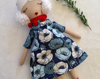 Beautiful handmade cloth doll, fabric doll, with white linen hair, pom poms. For girls, birthday gift, blue dress, flowery boots