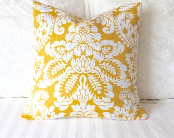 Pillow Cover in Golden Yellow Damask