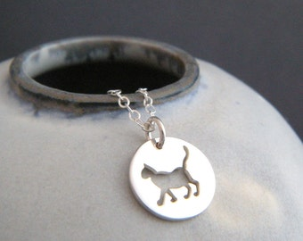 small silver cat necklace. sterling silver pet pride pendant. feline charm cut out. cat owner gift animal love lover. simple jewelry 1/2""