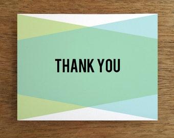 Thank You Card Template - Blue Green Geometric - Modern Printable Thank You Note - Printable Thank You Card - Thank You Note Download