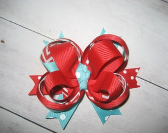 Aqua and Red stacked Hair Bow