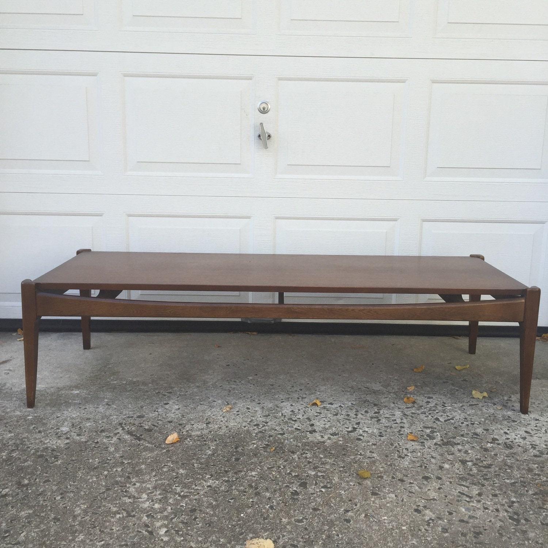 Mid Century Modern Long Walnut Coffee Table