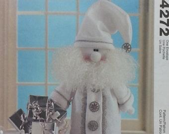 "Fleece Santa Pattern Mccalls Crafts 4272 Silver White Santa Pattern - Pattern is a 20"" Santa and his bag of toys."