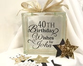 40th Birthday Wish Block - Wish Jar - Black and Gold Themed with stars to write wishes on
