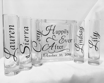 Family Blended Unity Sand Ceremony Glass Containers - Glass Block - Happily Ever After - Personalized with Wedding Date - Personalized Vases