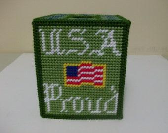 USA Proud Tissue Box Cover, Patriotic Tissue Box Cover, Needlepoint U.S. Army Proud Tissue Box Cover