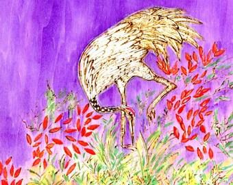 Zen Doodle Woodburned Panel Crane in Fields