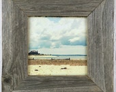 Beach photo, Southold, NY, North Fork, Long Island, canvas print 5x5 barnwood frame