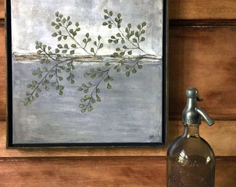 Maidenhair Fern Painting, original canvas, framed