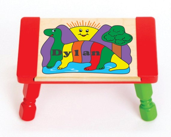 Personalized Name Dinosaur Theme Children Puzzle Step Stool