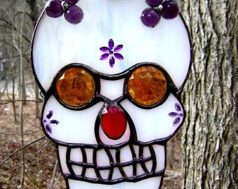 Sugar Skull Day of the Dead Stained Glass Mexican El Dia de los Muertos Suncatcher Spanish Fiesta Mexicana Cinco de Mayo Original Design©