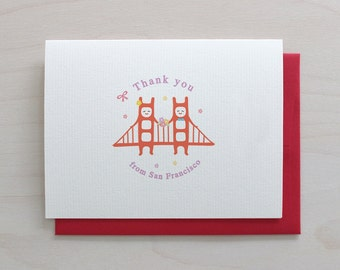 Golden Gate Twins Greeting Card - Thank You