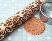 Embossing rolling pin Floral folk design, wooden rolling pin, Cookies decorating roller, Laser engraved rolling pin