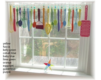 FREE SHIPPING! Savings of Twenty Dollars Shipping Costs!  Forever Spring Whimsical Kitschy Kitchen Window Treatment Valance Curtain
