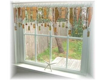Jamoca Almond Fudge  Stained Glass Window Treatment Kitchen Valance Curtain