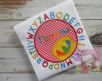 Crayons Alphabet Applique Shirt - Back To School Shirt - Crayon Shirt - Preschool Shirt