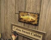 Dollhouse Miniature FISH Wood Rustic Plaque Picture